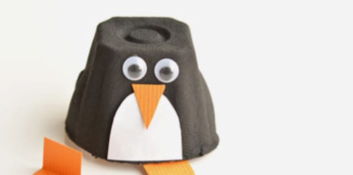 an egg carton penguin