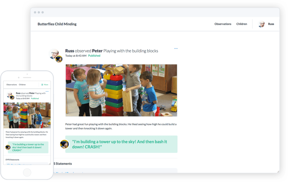 Each parent and carer account gets access to their own unique newsfeed